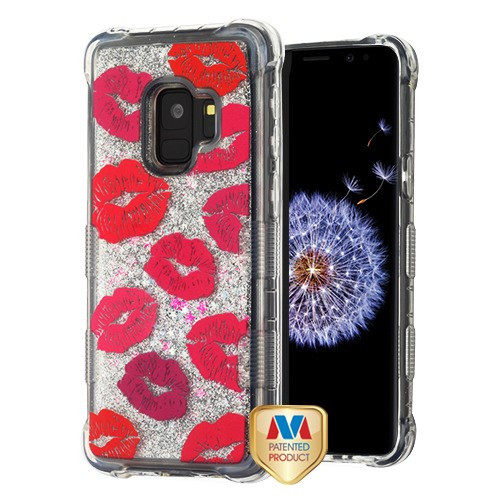 MyBat TUFF Quicksand Glitter Lite Hybrid Protector Cover for Samsung Galaxy S9 - Blissful Kisses / Silver