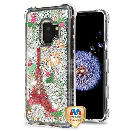 MyBat TUFF Quicksand Glitter Lite Hybrid Protector Cover (with Diamonds) for Samsung Galaxy S9 - Paris Monarch Butterflies / Silver Flowing Sparkles