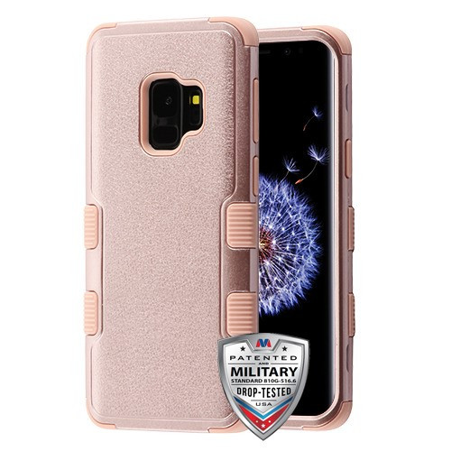 MyBat TUFF Hybrid Protector Cover [Military-Grade Certified] for Samsung Galaxy S9 - Textured Rose Gold / Rose Gold