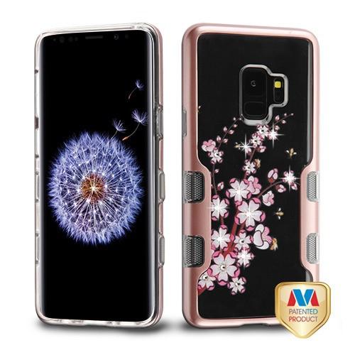MyBat TUFF Panoview Hybrid Protector Cover for Samsung Galaxy S9 - Metallic Rose Gold / Spring Flowers Diamante
