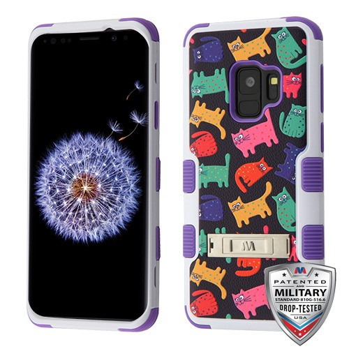 MyBat TUFF Hybrid Protector Cover (with Stand)[Military-Grade Certified] for Samsung Galaxy S9 - Colored Kittens / Purple