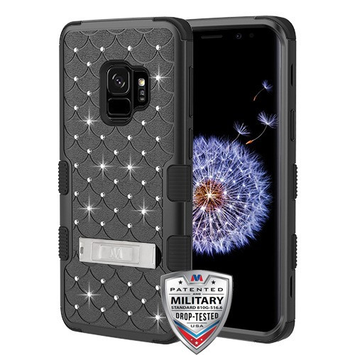 MyBat FullStar TUFF Hybrid Protector Cover (with Stand)[Military-Grade Certified] for Samsung Galaxy S9 - Natural Black / Black
