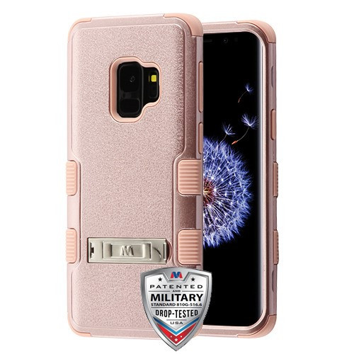 MyBat TUFF Hybrid Protector Cover (with Stand)[Military-Grade Certified] for Samsung Galaxy S9 - Textured Rose Gold / Rose Gold