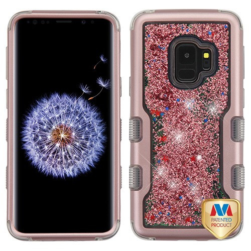 MyBat TUFF Quicksand Glitter Hybrid Protector Cover for Samsung Galaxy S9 - Rose Gold / Rose Gold Sparkles Liquid Flowing
