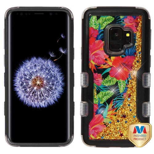 MyBat TUFF Quicksand Glitter Hybrid Protector Cover for Samsung Galaxy S9 - Natural Black / Electric Hibiscus & Gold Sparkles Liquid Flowing