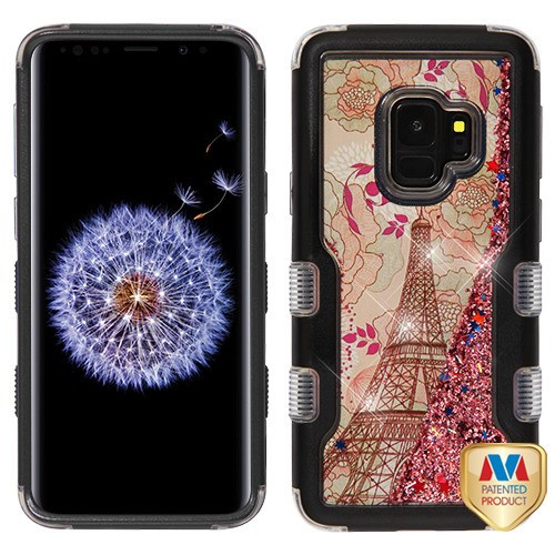 MyBat TUFF Quicksand Glitter Hybrid Protector Cover for Samsung Galaxy S9 - Natural Black / Eiffel Tower & Rose Gold Sparkles Liquid Flowing