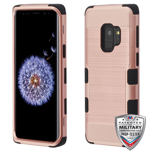MyBat TUFF Hybrid Protector Cover [Military-Grade Certified] for Samsung Galaxy S9 - Rose Gold Brushed / Black