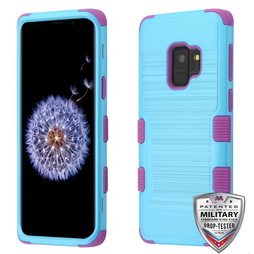 MyBat TUFF Hybrid Protector Cover [Military-Grade Certified] for Samsung Galaxy S9 - Metallic Baby Blue Brushed / Electric Purple