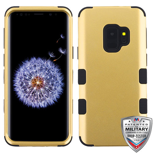 MyBat TUFF Hybrid Protector Cover [Military-Grade Certified] for Samsung Galaxy S9 - Gold / Black