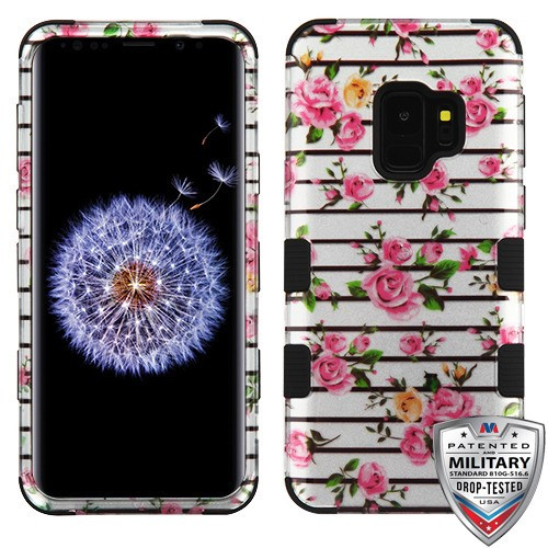MyBat TUFF Hybrid Protector Cover [Military-Grade Certified] for Samsung Galaxy S9 - Pink Fresh Roses (2D Silver) / Black