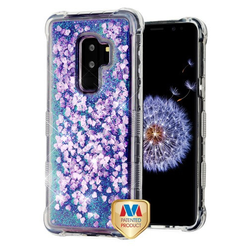 MyBat TUFF Quicksand Glitter Lite Hybrid Protector Cover for Samsung Galaxy S9 Plus - Purple Hearts