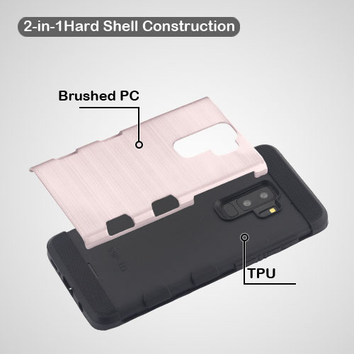 MyBat Brushed TUFF Trooper Hybrid Protector Cover [Military-Grade Certified] for Samsung Galaxy S9 Plus - Rose Gold / Black