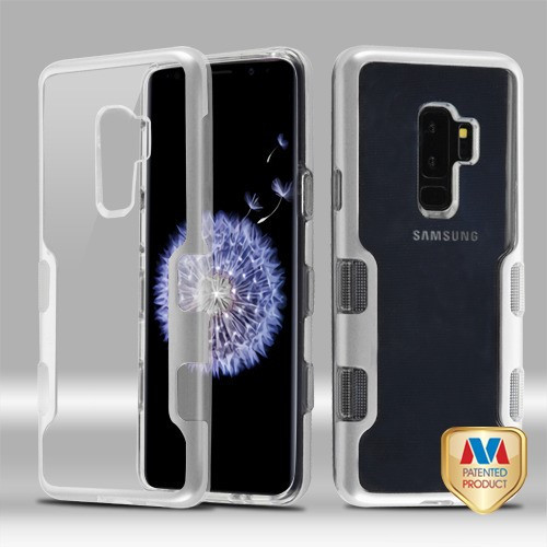 MyBat TUFF Panoview Hybrid Protector Cover for Samsung Galaxy S9 Plus - Metallic Silver / Transparent Clear