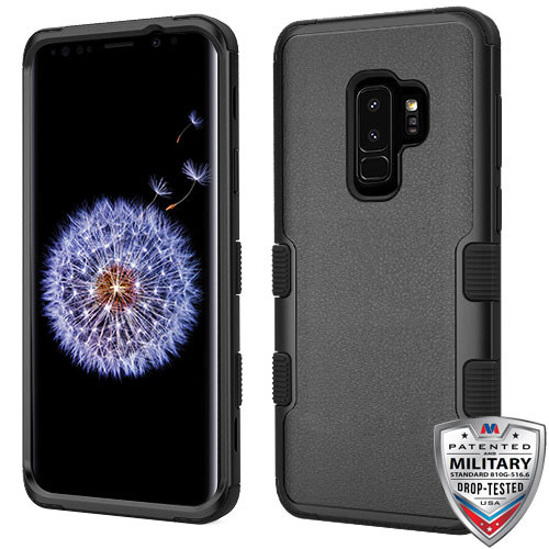 MyBat TUFF Hybrid Protector Cover [Military-Grade Certified] for Samsung Galaxy S9 Plus - Natural Black / Black