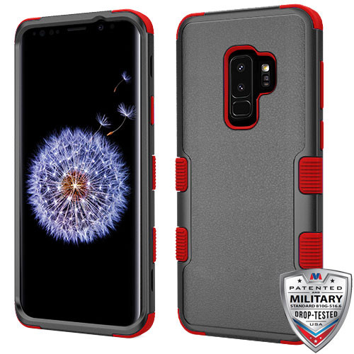 MyBat TUFF Hybrid Protector Cover [Military-Grade Certified] for Samsung Galaxy S9 Plus - Natural Black / Red