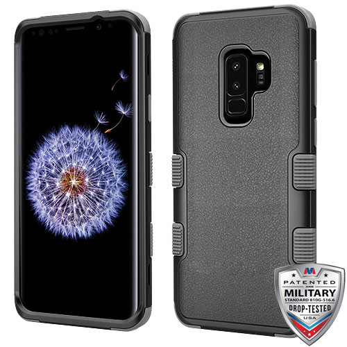 MyBat TUFF Hybrid Protector Cover [Military-Grade Certified] for Samsung Galaxy S9 Plus - Natural Black / Iron Gray