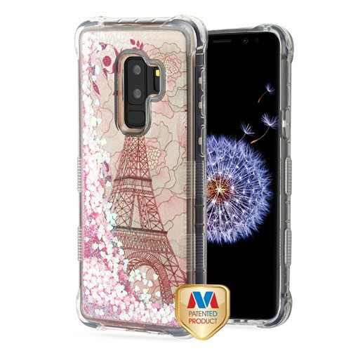 MyBat TUFF Quicksand Glitter Lite Hybrid Protector Cover for Samsung Galaxy S9 Plus - Eiffel Tower / Pink Hearts