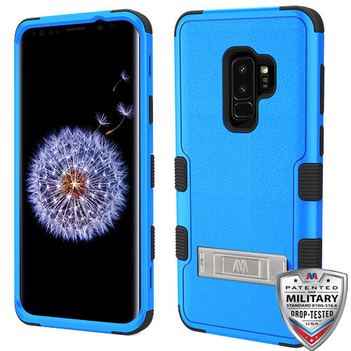MyBat TUFF Hybrid Protector Cover (with Stand)[Military-Grade Certified] for Samsung Galaxy S9 Plus - Natural Dark Blue / Black
