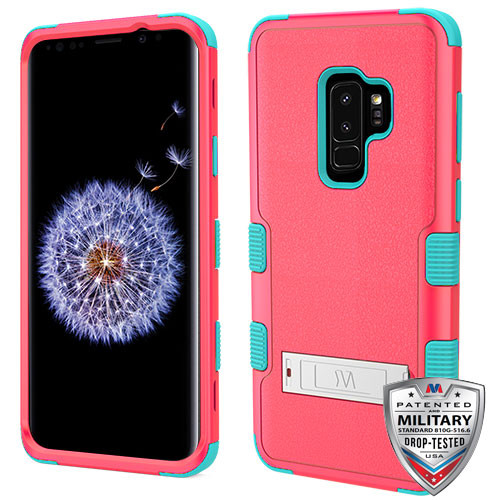 MyBat TUFF Hybrid Protector Cover (with Stand)[Military-Grade Certified] for Samsung Galaxy S9 Plus - Natural Baby Red / Tropical Teal