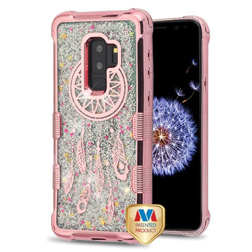 MyBat TUFF Quicksand Glitter Lite Hybrid Protector Cover for Samsung Galaxy S9 Plus - Rose Gold Electroplating / Dreamcatcher / Silver Flowing Sparkles