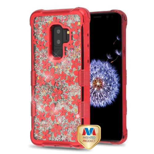 MyBat TUFF Quicksand Glitter Lite Hybrid Protector Cover for Samsung Galaxy S9 Plus - Red Electroplating / Hibiscus Flower / Silver Flowing Sparkles