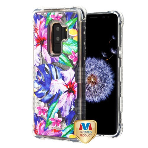 MyBat TUFF Quicksand Glitter Lite Hybrid Protector Cover for Samsung Galaxy S9 Plus - Watercolor Hibiscus / Silver
