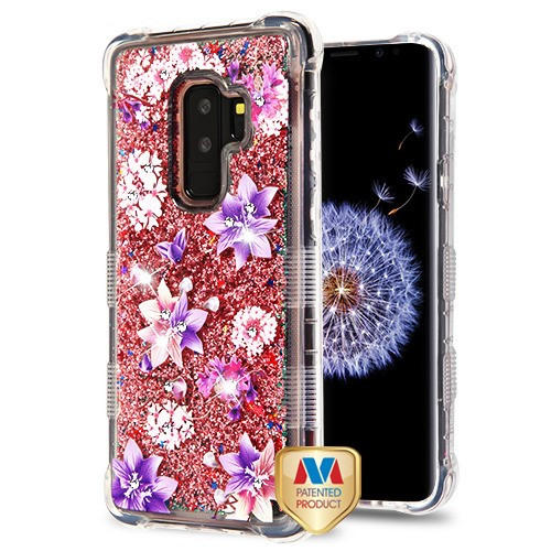 MyBat TUFF Quicksand Glitter Lite Hybrid Protector Cover (with Diamonds) for Samsung Galaxy S9 Plus - Purple Stargazers / Rose Gold Flowing Sparkles