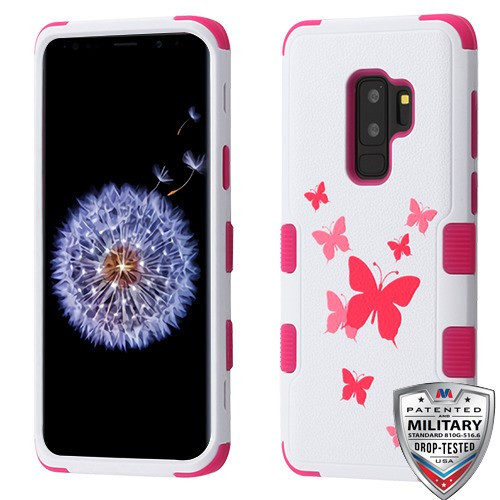 MyBat TUFF Hybrid Protector Cover [Military-Grade Certified] for Samsung Galaxy S9 Plus - Butterfly Dancing / Hot Pink