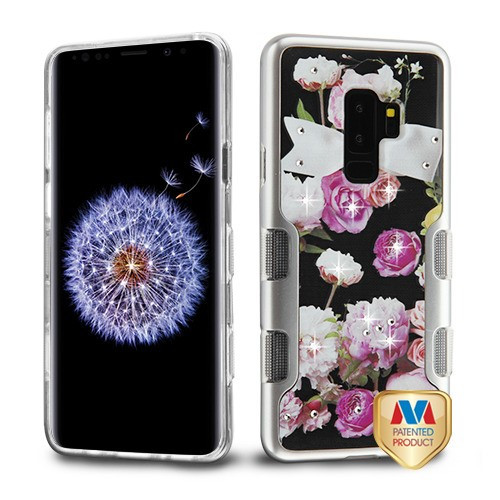MyBat TUFF Panoview Hybrid Protector Cover for Samsung Galaxy S9 Plus - Metallic Silver / Roses Diamante