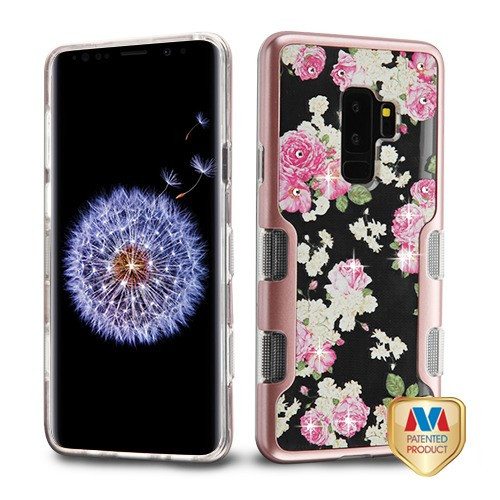 MyBat TUFF Panoview Hybrid Protector Cover for Samsung Galaxy S9 Plus - Metallic Rose Gold / European Rose Diamante