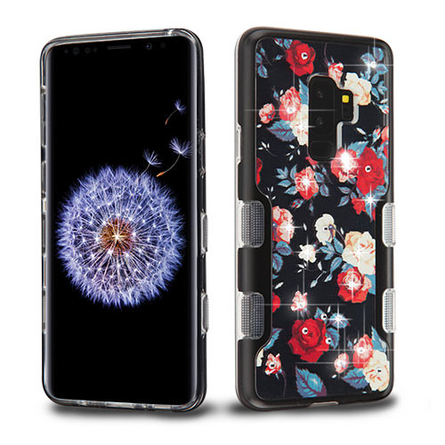 MyBat TUFF Panoview Hybrid Protector Cover for Samsung Galaxy S9 Plus - Metallic Black / Red and White Roses Diamante