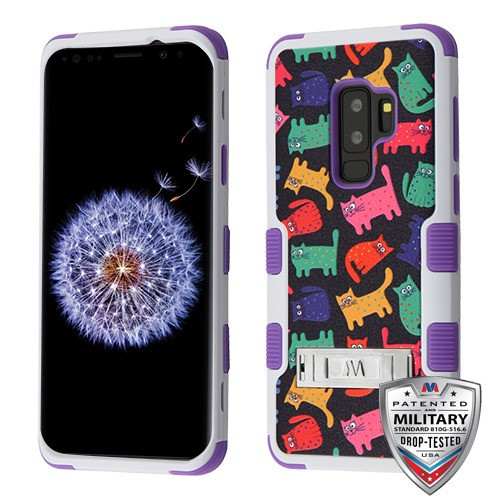 MyBat TUFF Hybrid Protector Cover (with Stand)[Military-Grade Certified] for Samsung Galaxy S9 Plus - Colored Kittens / Purple