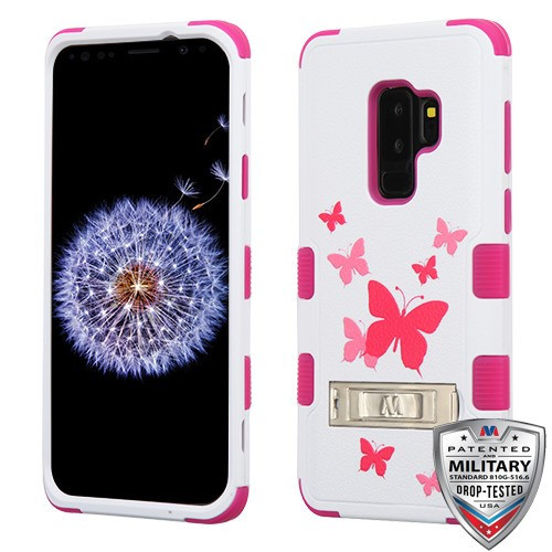 MyBat TUFF Hybrid Protector Cover (with Stand)[Military-Grade Certified] for Samsung Galaxy S9 Plus - Butterfly Dancing / Hot Pink
