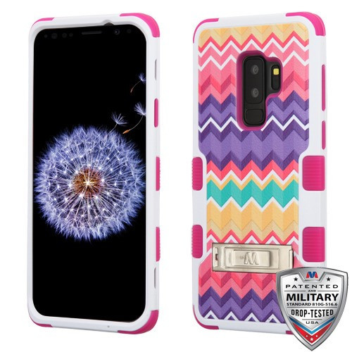 MyBat TUFF Hybrid Protector Cover (with Stand)[Military-Grade Certified] for Samsung Galaxy S9 Plus - Camo Wave / Hot Pink
