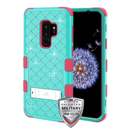 MyBat FullStar TUFF Hybrid Protector Cover (with Stand)[Military-Grade Certified] for Samsung Galaxy S9 Plus - Natural Teal Green / Electric Pink