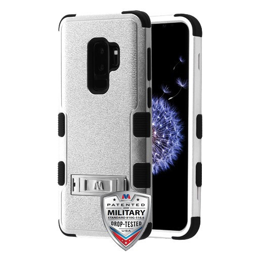 MyBat TUFF Hybrid Protector Cover (with Stand)[Military-Grade Certified] for Samsung Galaxy S9 Plus - Textured Silver / Black