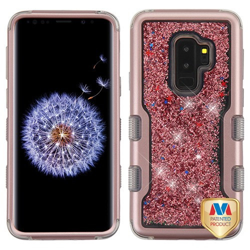 MyBat TUFF Quicksand Glitter Hybrid Protector Cover for Samsung Galaxy S9 Plus - Rose Gold / Rose Gold Sparkles Liquid Flowing