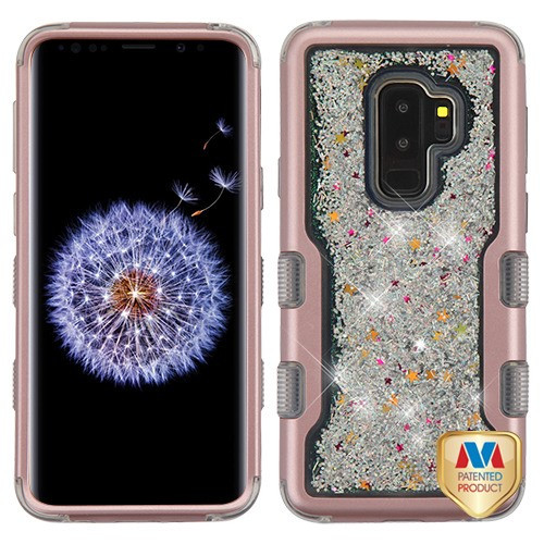 MyBat TUFF Quicksand Glitter Hybrid Protector Cover for Samsung Galaxy S9 Plus - Rose Gold / Silver Sparkles Liquid Flowing