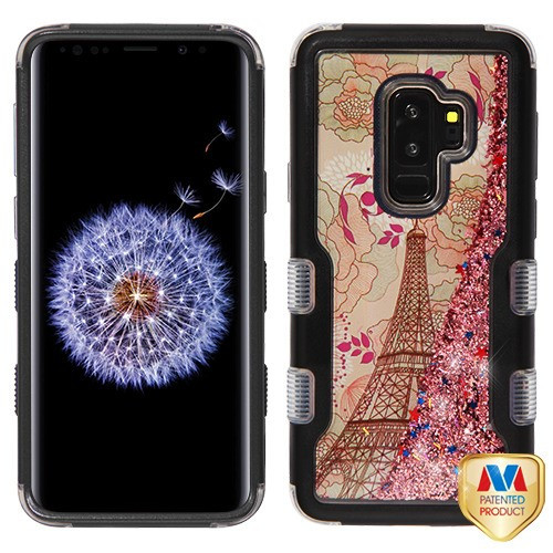 MyBat TUFF Quicksand Glitter Hybrid Protector Cover for Samsung Galaxy S9 Plus - Natural Black / Eiffel Tower & Rose Gold Sparkles Liquid Flowing