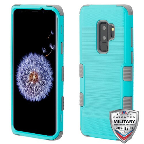 MyBat TUFF Hybrid Protector Cover [Military-Grade Certified] for Samsung Galaxy S9 Plus - Teal Green Brushed / Iron Gray
