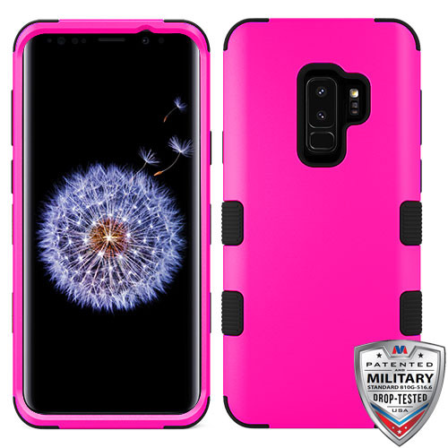 MyBat TUFF Hybrid Protector Cover [Military-Grade Certified] for Samsung Galaxy S9 Plus - Titanium Solid Hot Pink / Black