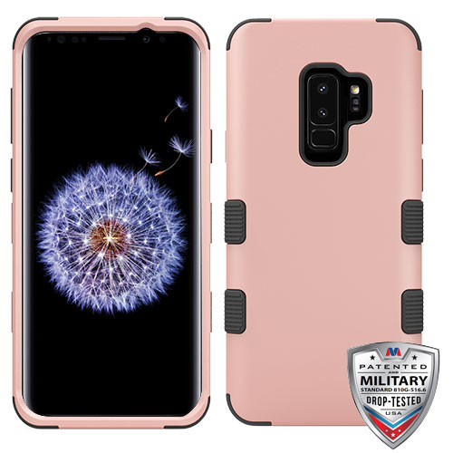 MyBat TUFF Hybrid Protector Cover [Military-Grade Certified] for Samsung Galaxy S9 Plus - Rose Gold / Black