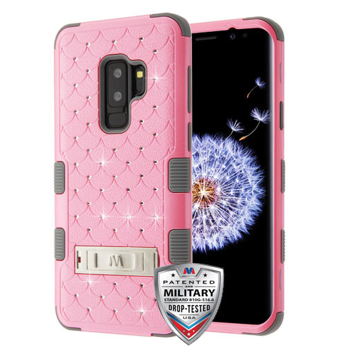 MyBat FullStar TUFF Hybrid Protector Cover (with Stand)[Military-Grade Certified] for Samsung Galaxy S9 Plus - Pearl Pink / Iron Gray
