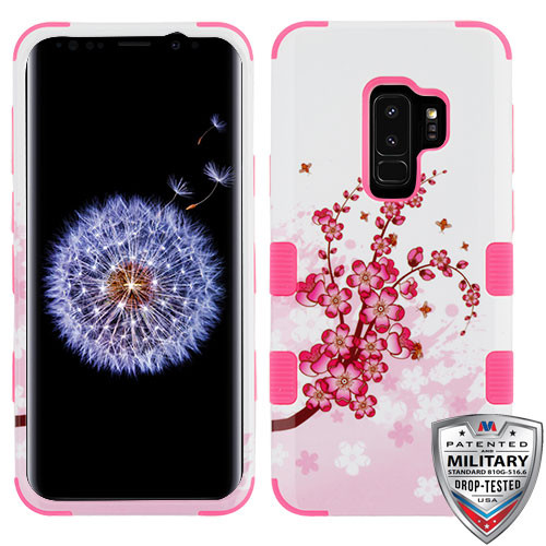 MyBat TUFF Hybrid Protector Cover [Military-Grade Certified] for Samsung Galaxy S9 Plus - Spring Flowers / Electric Pink