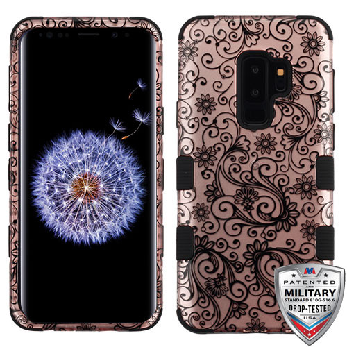 MyBat TUFF Hybrid Protector Cover [Military-Grade Certified] for Samsung Galaxy S9 Plus - Black Four-Leaf Clover (2D Rose Gold) / Black