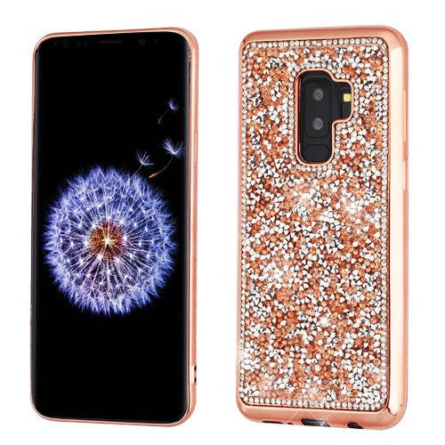 MyBat Candy Skin Cover (with Electroplated Rose Gold Frame) for Samsung Galaxy S9 Plus - Rose Gold Mini Crystals Rhinestones Desire