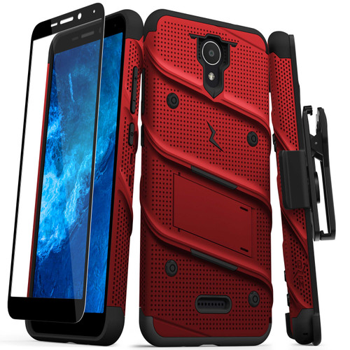 ZIZO BOLT Series for Cricket Icon 2 Case with Screen Protector Kickstand Holster Lanyard - Red & Black BOLT-CKIC2-RDBK