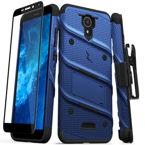 ZIZO BOLT Series for Cricket Icon 2 Case with Screen Protector Kickstand Holster Lanyard - Blue & Black BOLT-CKIC2-BLBK