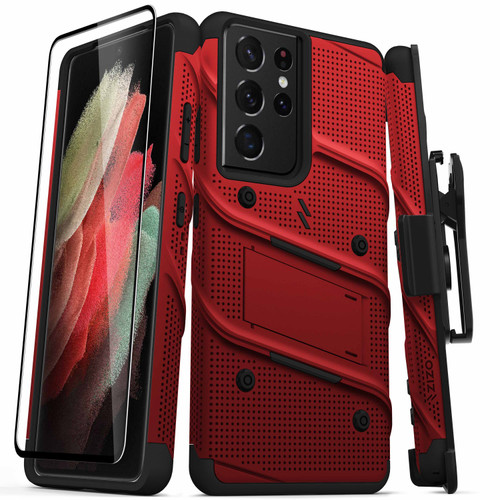 ZIZO BOLT Series for Galaxy S21 Ultra 5G Case with Screen Protector Kickstand Holster Lanyard - Red & Black BOLT-SAMGS2169-RDBK