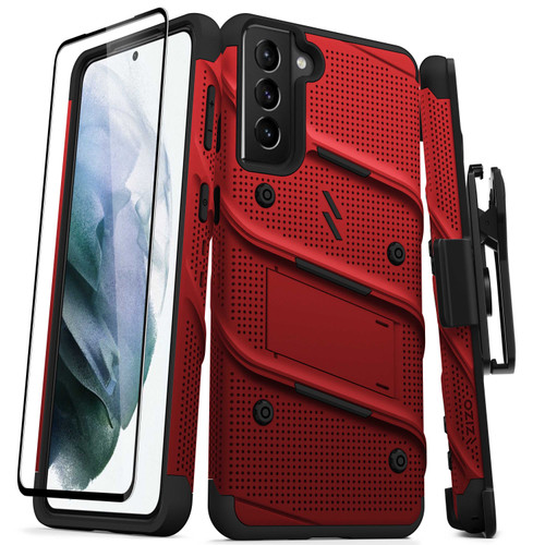 ZIZO BOLT Series for Galaxy S21+ 5G Case with Screen Protector Kickstand Holster Lanyard - Red & Black BOLT-SAMGS2167-RDBK